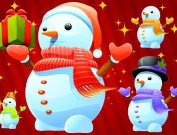 Cute Winter Snowman Pack with Gifts - Free vector #181145