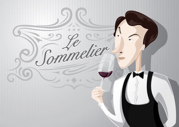 Sommelier cartoon smelling wine - Free vector #181155