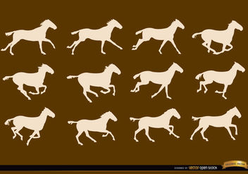 Horse running sequence frames silhouettes - Free vector #181255