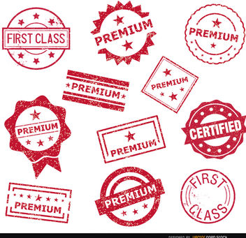 11 Premium stamp seals - vector gratuit #181435