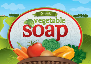 Organic vegetable soap logo - Free vector #181465