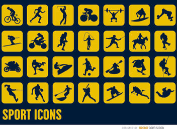 28 Sport silhouettes square icons - Kostenloses vector #181595