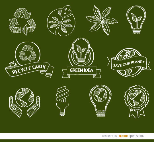 11 Doodle ecologic icons - Kostenloses vector #181605