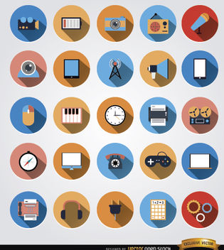 25 Multimedia communication circle icons - Free vector #181645