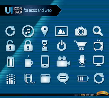 Multimedia blue icons set - vector #181675 gratis