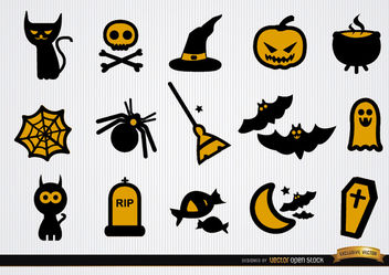 Funny Halloween icons set - Free vector #181695