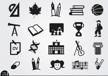 School elements icons set - Free vector #181705
