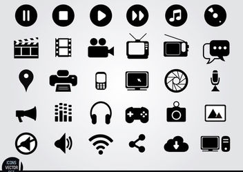 Multimedia flat icons set - бесплатный vector #181735
