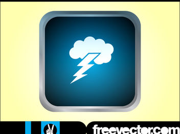 Glossy Grey Rim Thunderstorm Icon - Free vector #181775
