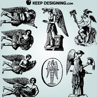 Vintage Winged Angel Pack - Free vector #181815