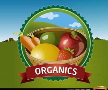 Organic fruits seal - vector gratuit #181895