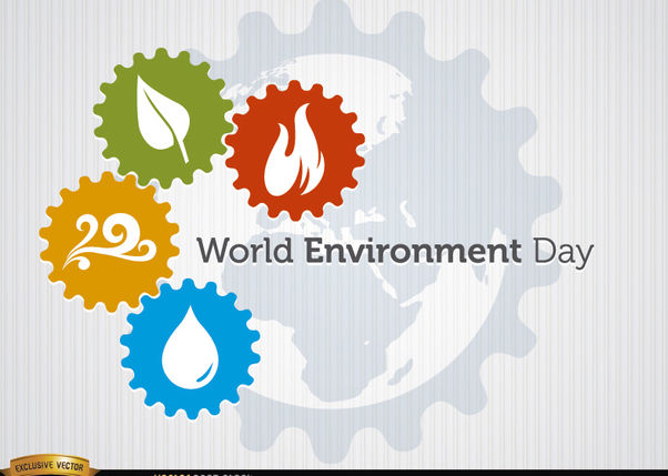 Four elements gears world environment day - Free vector #181905