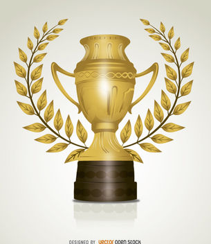 Golden trophy leaves - Free vector #181965