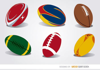 6 Rugby balls set - Free vector #182005