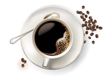 Realistic Cup of Coffee with Beans - vector gratuit #182025