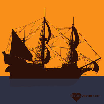 Silhouette Pirate Ship - vector gratuit #182125