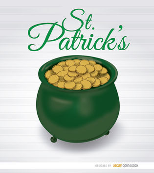 St. Patrick's pot gold - Free vector #182195