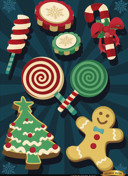 Christmas sweets elements - Free vector #182205