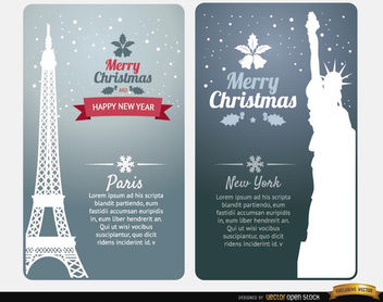 Merry Christmas cards Paris New York - Free vector #182215