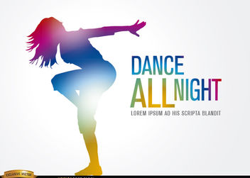 Colored dancing girl figure - Free vector #182225