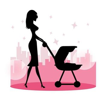 Mommy Walking with Baby Stroller - Free vector #182235