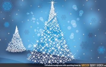 Christmas Background with Sparkling trees - vector gratuit #182245