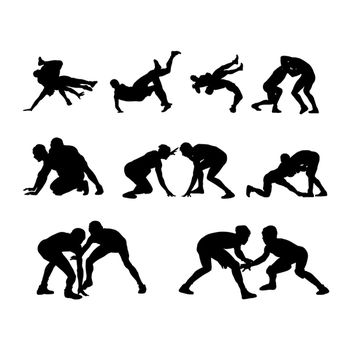 Wrestling Sports Pack Silhouette - vector gratuit #182325
