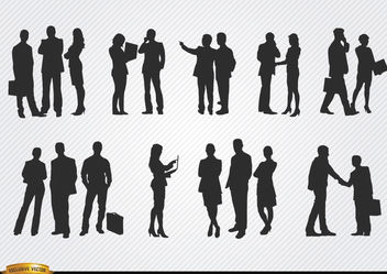 Business people meeting silhouettes - vector gratuit #182395