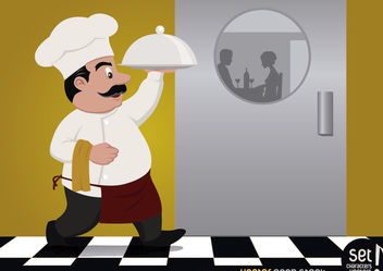 Chef serving food for couple - vector gratuit #182415