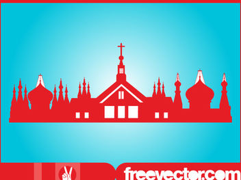 Orthodox Religion Buildings Silhouette - vector gratuit(e) #182425