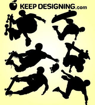 Skate Boarding Silhouette Pack - Free vector #182435