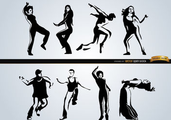 People dancing different styles - vector gratuit #182475