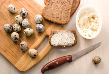 Quail eggs, Borodino bread with cheese curd - image #182665 gratis
