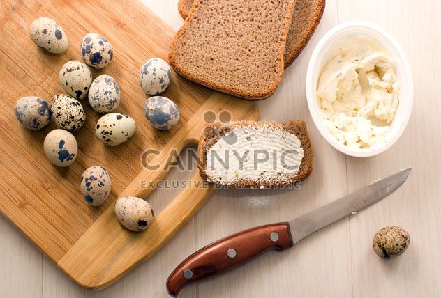 Quail eggs, Borodino bread with cheese curd - Free image #182665