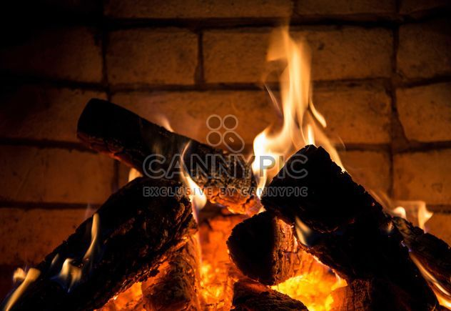 Close-up burning fireplace - Free image #182905