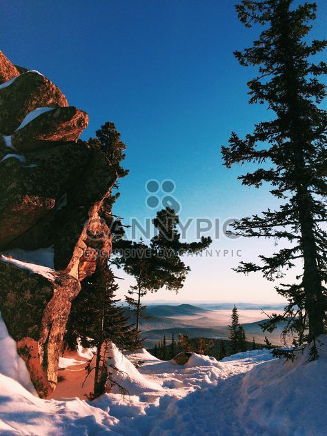 Winter landscape with mountains under cloudless blue skt - Free image #183995
