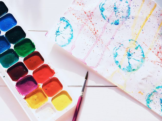 Watercolor paints and brushes - Free image #184245