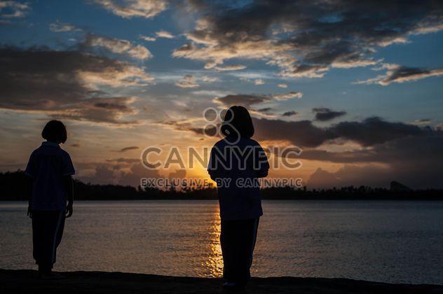Силуэты на закате - бесплатный image #186545