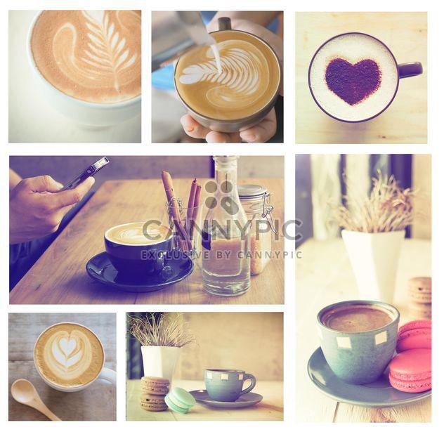 Коллаж из фотографий с кофе и латте - бесплатный image #187015