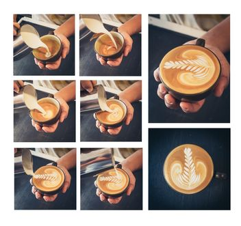 Collage of photos with coffee, how to make Latte art coffee - image gratuit #187035