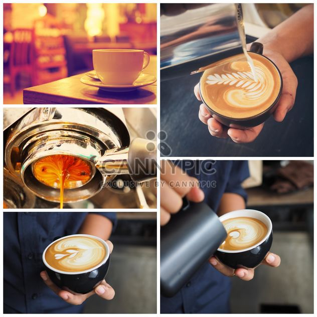 Collage of photos with coffee art - Free image #187065