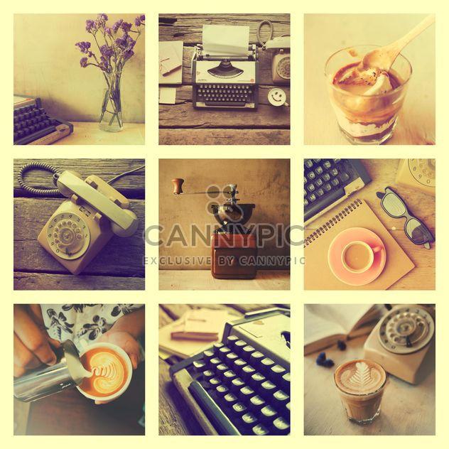Коллаж из фотографий с кофе, ретро пишущая машинка и Телефон, старинный эффект - бесплатный image #187085