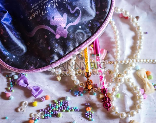 beads and trinkets from my bag, ribbons and stars - Free image #187225