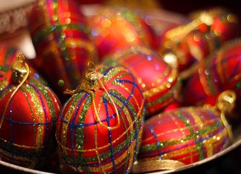 Close up of Red Christmas tree decorations - Free image #187355