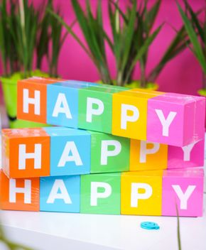colorful letters happy from blocks - image gratuit #187385