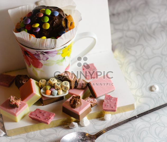 Cupcake, candies and cubes with letters - Free image #187405