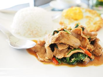 beef and basil fried with rice # thaifood - image gratuit #194375