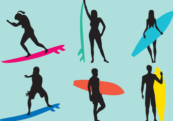 Woman And Man Surfing Silhouette Vectors - Free vector #199115