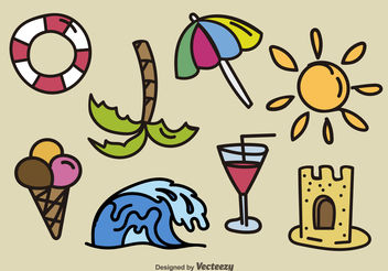Hand drawn beach elements - vector gratuit(e) #199235