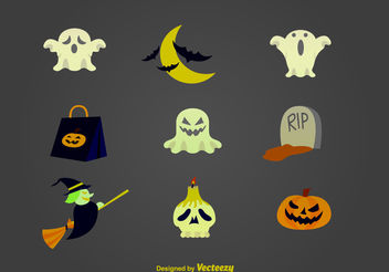 Halloween cartoon icons - Free vector #199345